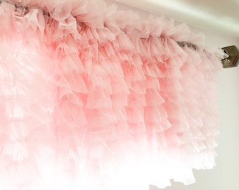 Pink Ruffle Tulle Valance - Short Curtain - Extra Wide Valance - Pink Valance - Pink Ruffle Valance - Country Valance - Kitchen Valance