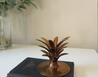 Vintage Brass Pineapple Top Candle Holder