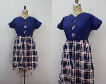 vintage swirl wrap dress / 1950s wrap dress / 1960s wrap back dress / 50s plaid dress / 60s day dress / sz L large XL plus size