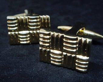 Bright Gold Hinged Cufflinks... Basket Weave Pattern... c.1990s