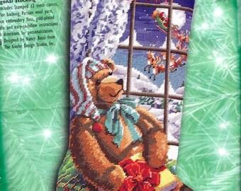 Repackaged Bucilla A Gift for Santa Teddy Bear Christmas Needlepoint Stocking Kit 60776 R