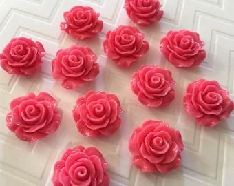 Flower Magnet Set of 12 - Dark Pink Roses - stocking stuffer, dorm decor, hostess gift, weddings, bridal shower, baby shower, gift