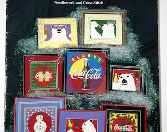 Colorful Coca Cola Needlework and Cross-stitch booklet Polar bear Coke patterns