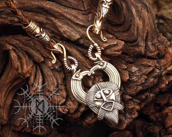 Bronze Odin Huginn Muninn Ravens Gungnir Rune Gar Spear Pendant Wolf Heads Braided Leather Cord Necklace