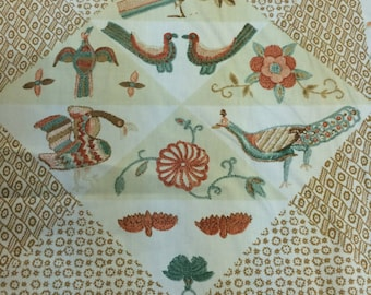 "Vintage Waverly Schumacher Fabric ""Embroidered Quilt"" Reproduction of Sturbridge Village"
