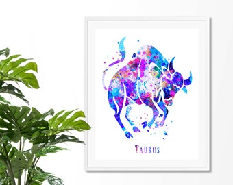 Taurus #4 Watercolor  Astrology Art, Taurus Print, Taurus Sign ,Taurus Zodiac, Taurus Wall Art, Taurus Poster, Gifts for Taurus