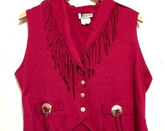80s Vintage Western Style Fringe Knit Vest medium wt17852