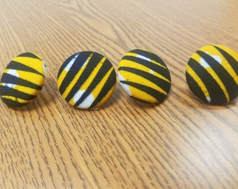"""Black and Yellow-Orange Tiger Claw Marks Abstract Ankara Fabric-Covered Button Earrings, Ankara Earrings, Mustard Yellow Earrings (1 1/8"""")"""