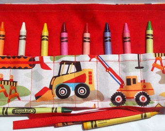 Crayon Roll Up Crayon Holder Construction Vehicle On White - Holds 8 Crayons