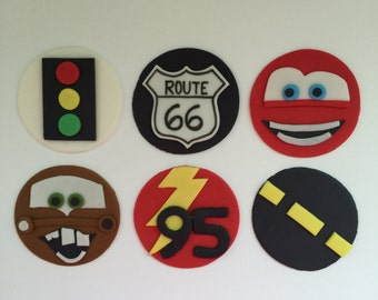 12 Cars Inspired Cupcake Toppers-Fondant