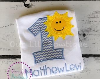 Sunshine Birthday- Sunshine Birthday   Shirt - 1st Birthday Shirt - Birthday Tutu- Personalized Birthday Shirt - Boy - First Birthday Tutu