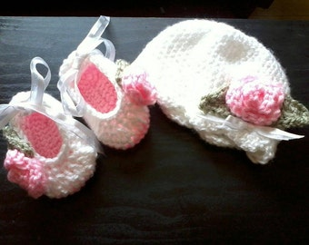 Baby Beanie and slippers set