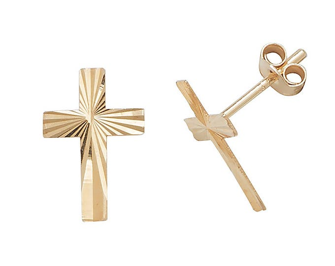 9ct Yellow Gold Diamond Cut Crucifix Cross Stud Earrings