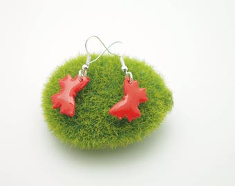 Bright red butterfly earrings glossy polymer clay