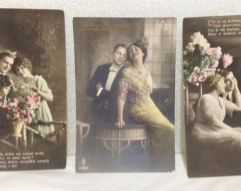 Antique Risque 3 Polish Romantic Hand Tinted Postcard Victorian Edwardian Couple Lovers 1910-15