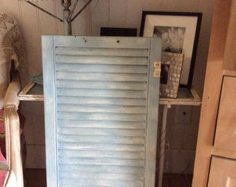 "Vintage Salvaged Wood Shutter, Blue Distressed Shabby Chic, 31""x15"""