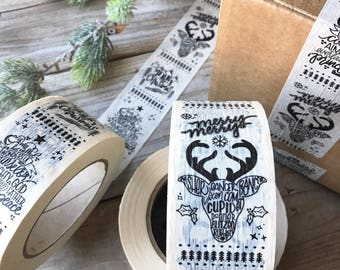 CHRISTMAS TAPE, Holiday Packing Tape, Packaging Tape, Masking Tape, Hand lettering, Gift Wrap, Printed Masking Tape, DIY Packaging
