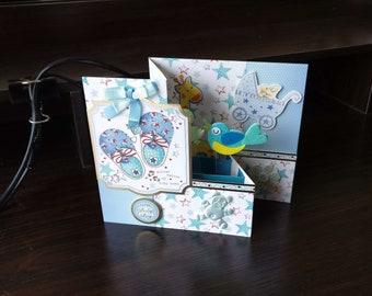 3D Pop Up Z-Fold New Baby Boy Card - luxury quality bespoke UK Mum/Daughter/Aunt/Niece/Grandma/Sister