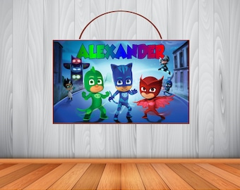 Personalized P J MASKS Sign, PJ Masks Personalized Wooden Name Sign, PJ Masks Room Decor, P J Masks Birthday Gift, Wall Art