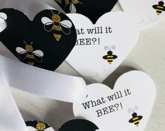 What Will It BEE?! Heart and Bumble Bee Favor Tags | Gender Reveal | Neutral Baby Shower