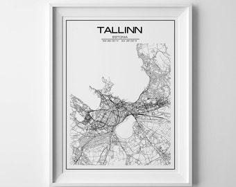 Tallinn city map, tallinn print, city map, map art, estonia map, city map poster, minimalist map, printable map, custom map art print
