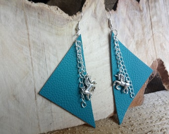 Unique teal leather earrings with Tibetan silver unicorn charm - drop style / dangly / hook / one of a kind / unusual