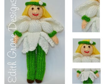 Doll Knitting Pattern - Flower Fairy - Snowdrop Fairy - Knit Doll - Flower Girl - Toy Knitting Pattern - Flowers - Yarn Doll - Doll Making