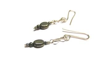 Pyrite Sterling Silver Earrings, figure eight earrings, sterling silver earrings, modern earrings