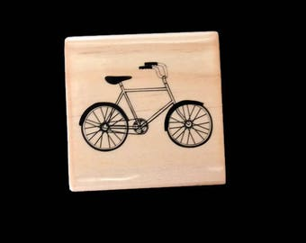 Bicycle Rubber Stamp, Bike Rubber Stamp, Cruiser Rubber Stamp, Antique Bicycle Stamp, Vintage Bicycle Stamp, Wood Mounted Rubber Stamp