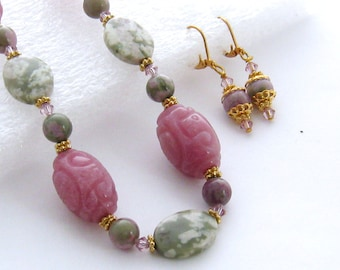 Purple and Green Jade Jewelry Set, Lavender, Pink, Carved Jade Necklace Earrings, Peace Jade, Swarovski Crystal, Chunky Pink Stone Necklace