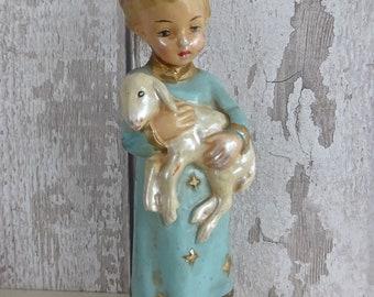 Vintage Italian Religious Statue Figure Figurine Jesus Lamb Plaster European Unusual