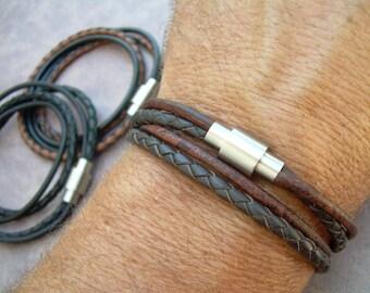 Men's Leather Bracelet, Men's Bracelets Leather, Leather Bracelet for Men, Stainless Steel Magnetic Clasp, Double Wrap, Men's Jewelry,