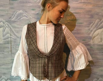 Brown Plaid Women's Vest Fitted Steampunk Formal Vest Checkered Waistcoat Medium Size