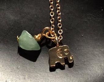 Good Luck Elephant with Lucky Jade Pendant