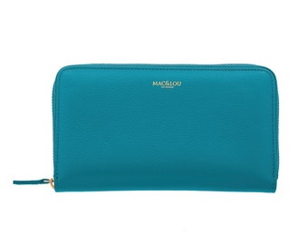 MAC&LOU Calfskin Leather Zip Wallet Blue