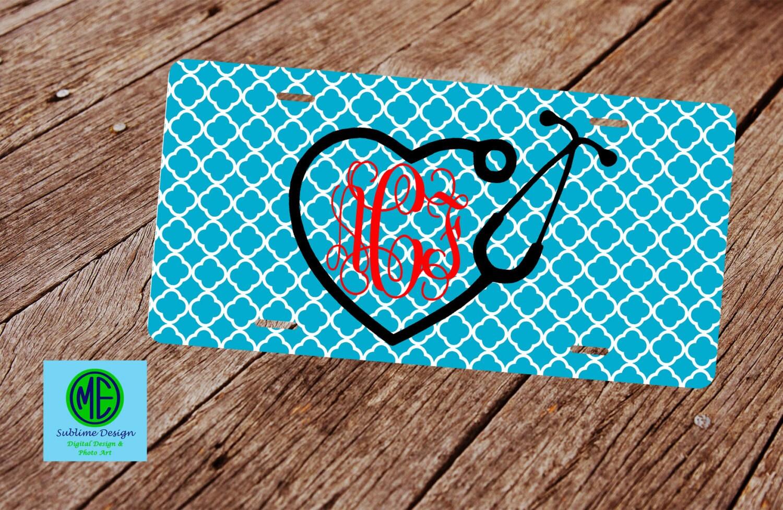 Stethoscope Monogram License Plate. Custom Nurse License