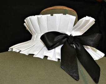 White Detachable Pleated Collar / White Pleated Choker
