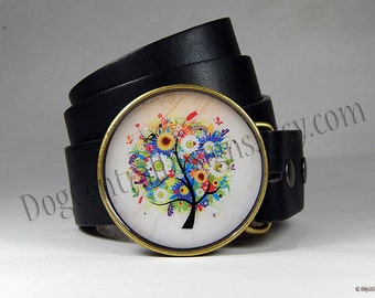 Belt Buckle Colorful Tree of Life Womens Belt Buckle Magical Tree Buckle Birthday Gift Womens Clothing Round Buckle Anniversary Gift