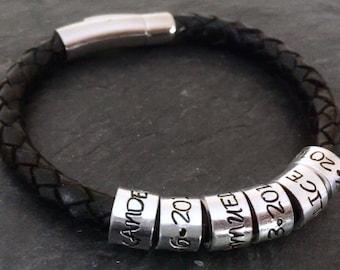 Personalised leather bracelet, mens bracelet, Father's Day gift, leather mens personalised bracelet, men leather bracelet, men jewellery