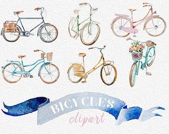 Watercolor Vintage Bicycles Clipart,Handpainted clipart,Wedding DIY,Design element,Printable,Digital Print,Retro,Antique,Transparent,PNG