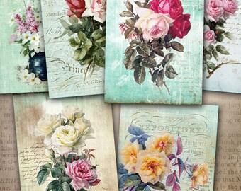 75% OFF SALE Digital Collage Sheet Roses - Printable download Gift tags digital image cardmaking tags atc card roses vintage scrapbooking