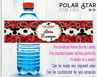Western Style, Cowboy Bandana - Personalized Water Bottle Labels for Baby shower, Birthday, Bridal, Wedding - Printable Digital File WBL49