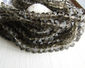 Grey Recycled glass beads,  faceted rondelle, square barrel shape , frosted style finish  Indonesian 7 to 9 x 10 to 13mm ( 16 pcs ) 6BK4-2