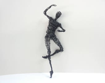 Wire sculpture, Birthday gift, Dancer in flight, Man wire sculpture, Figurative wall art, Male dancer, Ballet wall decor, Wall art, Gift her