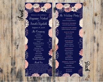 Floral Wedding Program | Navy Blue & Coral | Program | Wedding Party | Printable | Download