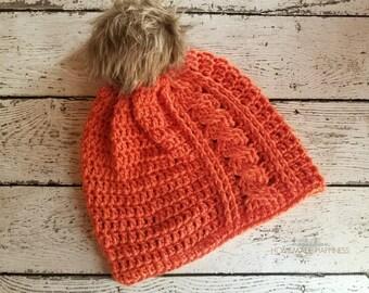 Cabled Beanie Crochet PATTERN - Crochet Beanie - Crochet Hat