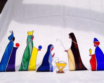 Nativity Set 6 piece Stained Glass