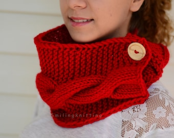 Red Scarf, Christmas Gift, Chunky Cowl, Knit Neck Warmer, Hand Knit Scarf, Neck Warmer, Wood Button