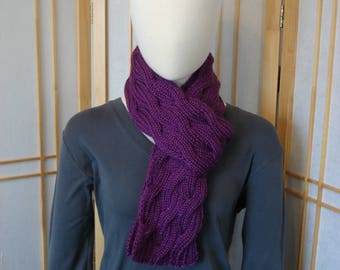 Purple Braided Cable Scarf