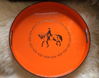 Orange Lacquer Equestrian Serving Bar Tray 15""